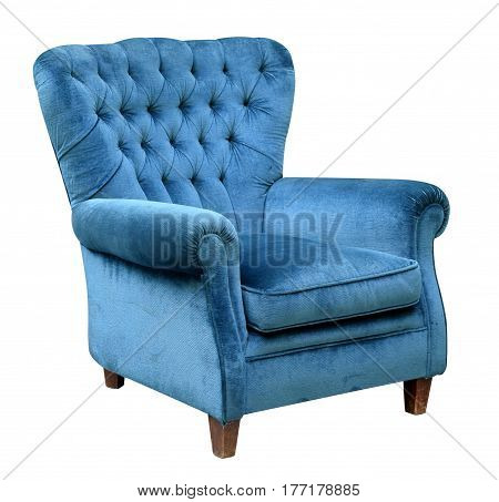 Upholstered Blue Velvet Armchair
