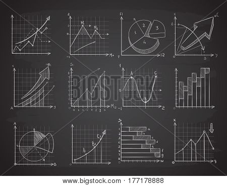 Hand drawing business statistics data graphs, social charts, chalk diagram on blackboard vector set. Infographic chart and drawing charts on blackboard illustration
