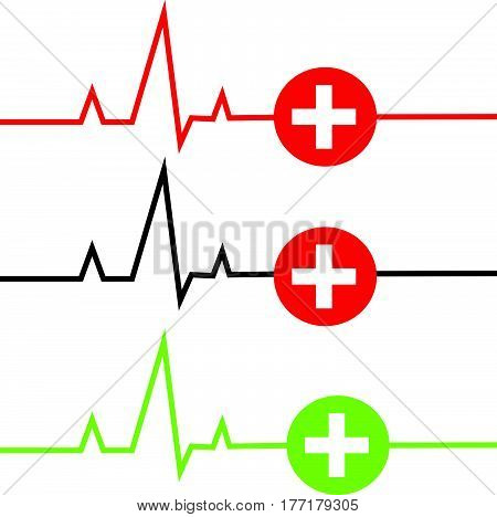 ECG with cross on white background. Vector illustration.