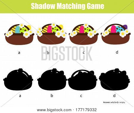 Shadow matching game for children. Find the right, correct shadow task for kids preschool and school age. Easter theme