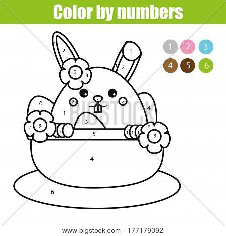 Coloring page with Easter bunny character. Color by numbers educational children game, drawing kids activity, printable sheet. rabbit in busket with eggs