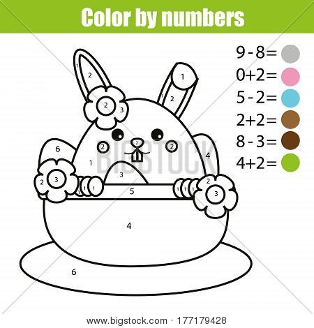 Coloring page with Easter bunny character. Color by numbers math educational children game, drawing kids activity, printable sheet. rabbit in busket with eggs