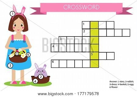 Crossword educational children game with answer. Learning vocabulary. Vector illustration, printable worksheet with girl and rabbit. Easter theme