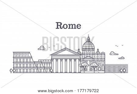 Italy rome architecture, europe skyline vector linear collection. Rome city architecture, pantheon building, illustration of famous rome monument