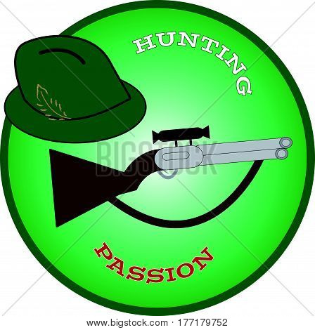 Hunting hat with gun in green ring. Vector illustration.
