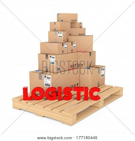 Logistics concept. Cardboard Boxes on Wooden Palette with Logistic Sign on a white background. 3d Rendering.