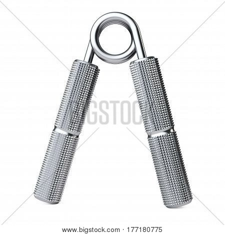 Metal Hand Grip Equipment for Exercise on a white background. 3d Rendering.