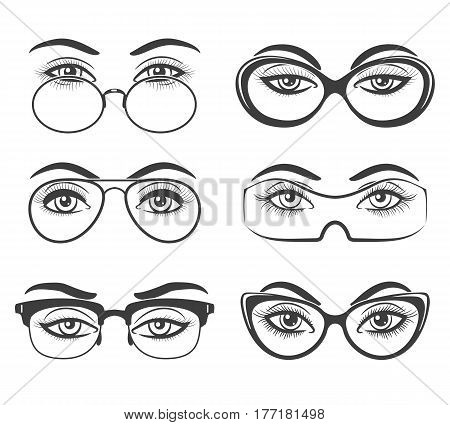 Woman eyes with glasses hand drawn vector illustration. Nerd model eyeglasses sketch