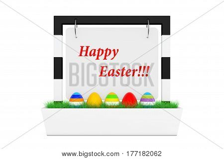 Row of Easter Eggs in Outdoor Banner Desk Display with Happy Easter Sign and Grass on a white background. 3d Rendering.