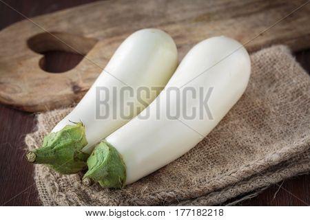 Fresh Raw White Eggplants