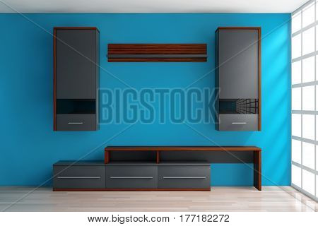 Modern Living Room Wall Unit in Room in front of blue wall. 3d Rendering.