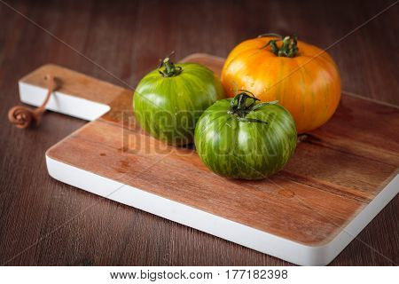 Fresh Raw Green And Yellow Tomatoes
