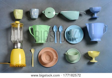 Selection Of Colorful Retro Plastic Kitchenware