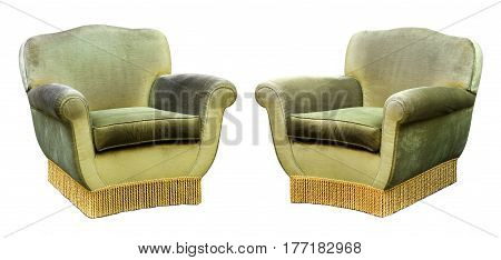 Two Upholstered Green Velvet Armchairs