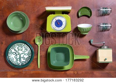 Assortment Of Green Themed Kitchen Tools