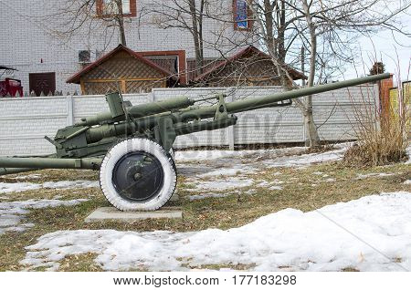 Artillery gun of the Second World War. Old soviet cannon