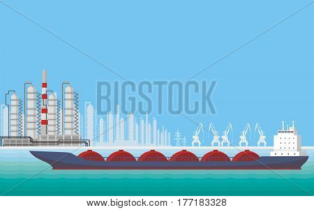 Sea landscape with the image of a harbour dock, ships and seaside industrial city. Vector background