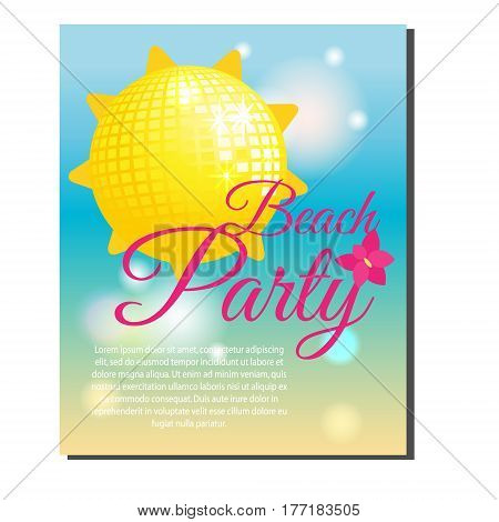 Summer beach party banner with yellow shining sun disco ball. Vector illustration. Design template for invitations gift voucher vacation events