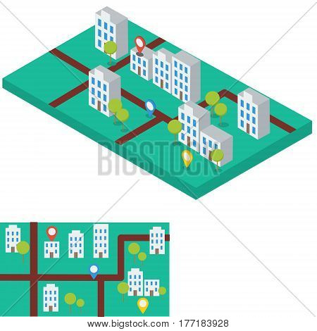 Abstract city map with gps signs. Flat and isometric infographic element paper mock up buildings. Generic town architecture. Modern estate