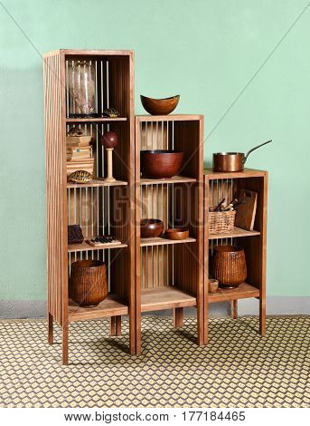 Modular Wooden Etagere Displaying Kitchenware