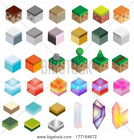 Game assets. Isometric texture bricks and magic crystals. Landscape rock water magic isolated design elements for gaming interface