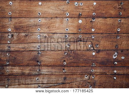 old wooden ship's surface texture close up