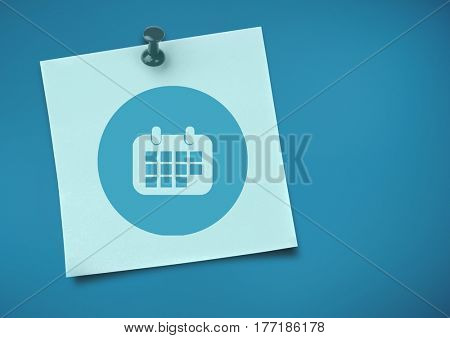 Digital composite of Sticky Note with Calendar Icon against neutral blue background