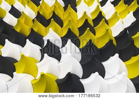 Pattern Of Black, White And Yellow Twisted Pyramid Shapes