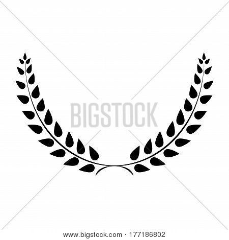 Sign laurel wreath mono. Black icon isolated on white background. Flat design style. Emblem of glory success. Symbol of leader victory triumph. Stock vector illustration