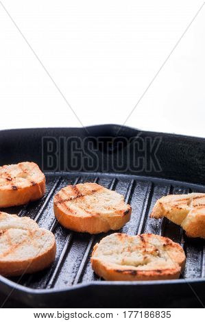 Grilled Toast On Pan.
