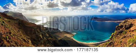Canary island Lanzarote - breathtaking panoramic view from Mirador del Rio