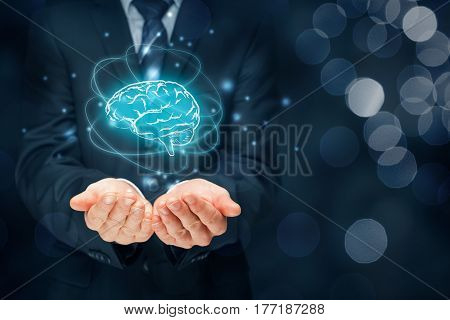 Brain representing artificial intelligence (AI), machine deep learning, creativity, headhunter, brainstorming, innovation and intellectual property rights.