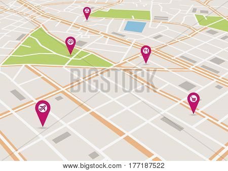 Vector flat abstract city map in perspective, with pin pointers and infrastructure icons