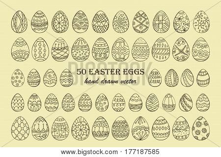 Big vector Easter egg set. 50 Easter hand-drawn decorative ornate egg elements for your design. Outline vintage egg signs.