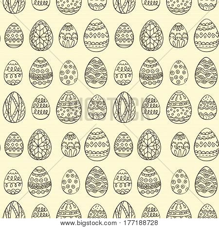 Seamless vector pattern with doodle Easter eggs. Easter hand-drawn decorative ornate elements in vector.