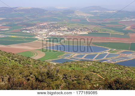 Panoramic view on Israel valley from Gilboa mountain