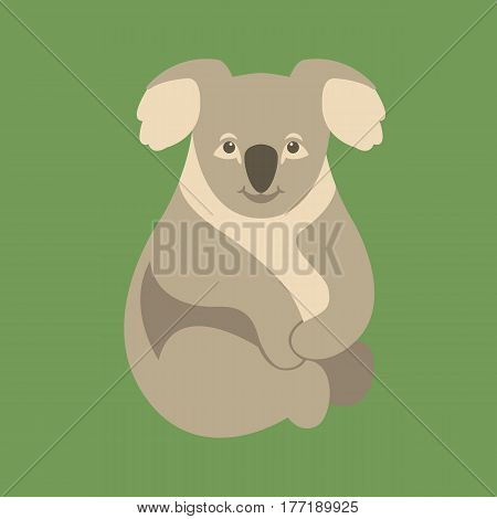 Koala Bear  vector illustration style Flat side