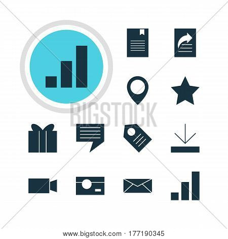 Vector Illustration Of 12 Web Icons. Editable Pack Of Coupon, Bookmark, Video Camera And Other Elements.