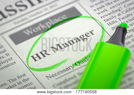 Newspaper with Jobs Section Vacancy HR Manager. Blurred Image with Selective focus. Hiring Concept. 3D Illustration.