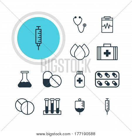 Vector Illustration Of 12 Health Icons. Editable Pack Of Pulse, Medicine, Antibody And Other Elements.