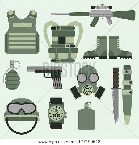 Military weapon guns symbols armor set forces design and american fighter ammunition navy camouflage sign vector illustration. Uniform battle sniper automatic special tools.