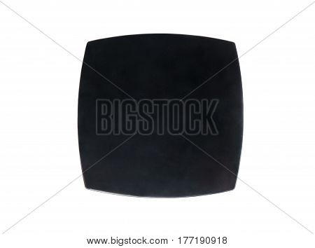 Closed black box for blush isolated on white background, top view