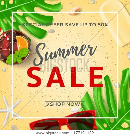 Summer sale background with web button. Top view on sun glasses, seashells, fresh cocktail and ice cream on sea sand. Vector illustration with leaves of tropical plant.