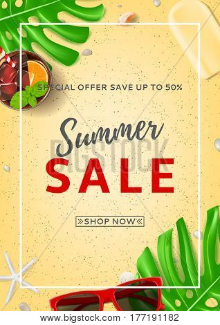 Summer sale poster with web button. Top view on sun glasses, seashells, fresh cocktail and ice cream on sea sand. Vector illustration with leaves of tropical plant.