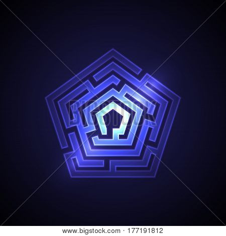 Abstract maze background with glowing light. Labyrinths in shape of pentahedron. Modern design of mystery pattern for business decoration. Vector illustration on gradient background.