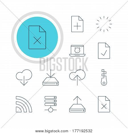 Vector Illustration Of 12 Internet Icons. Editable Pack Of Waiting, Wireless Network, Delete Data And Other Elements.