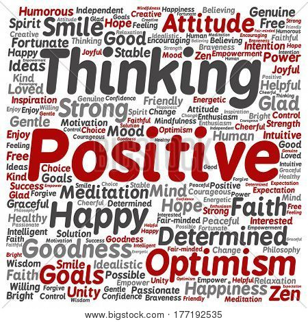 Concept or conceptual positive thinking, happy or strong attitude square word cloud isolated on background