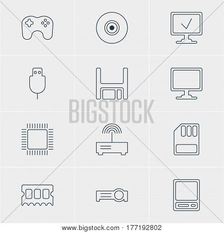 Vector Illustration Of 12 Laptop Icons. Editable Pack Of Router, Microprocessor, Memory Chip And Other Elements.