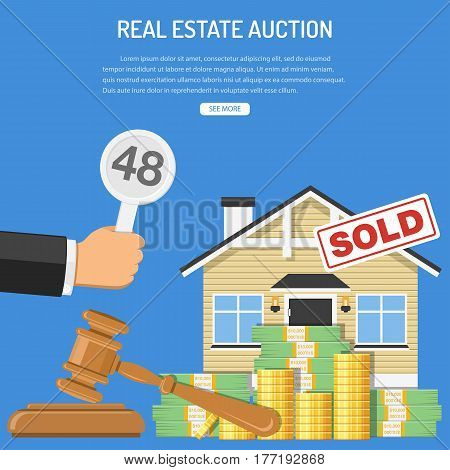 Auctions and bidding concept. Buyers holding bid in hand. Gavel and money. Sale real estate at auction. icon in flat style. isolated vector illustration