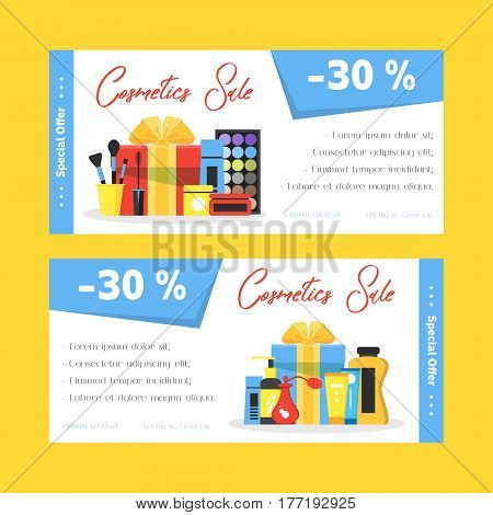 Cosmetics sale flyers set. Woman shop discount. Girl things icons decorative cosmetics face and body skin care cream gift. Make-up things banner. Modern flat design. Vector illustration on white.